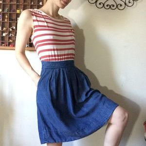 Anthropologie Dresses - Odille Anthropologie Red White Blue Chambray Dress